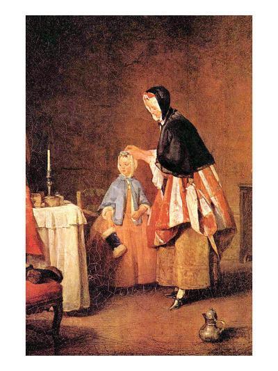 The Morning Toilet-Jean-Baptiste Simeon Chardin-Art Print