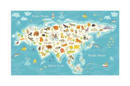 The Most Detailed Animals World Map Eurasia. also Birds Ocean Life Reptiles and Mammals-coffeee_in-Art Print
