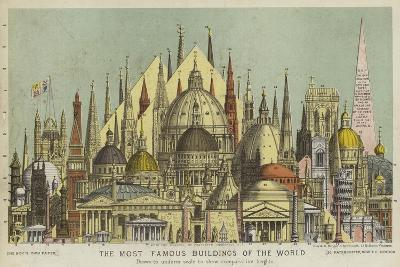 The Most Famous Buildings of the World, Showing Comparative Heights--Giclee Print