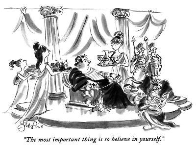 """""""The most important thing is to believe in yourself."""" - New Yorker Cartoon-Edward Frascino-Premium Giclee Print"""