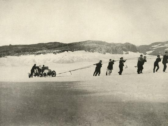 'The Motor-Car in Soft Snow, after the return of the Ship', c1908, (1909)-Unknown-Photographic Print
