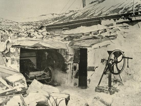 'The Motor Car in the Garage, and Maize-Crusher on the right', c1908, (1909)-Unknown-Photographic Print