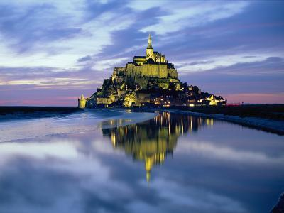 The Mount by Night Reflected in Water, Mont St. Michel, Manche, Normandy, France-Ruth Tomlinson-Photographic Print