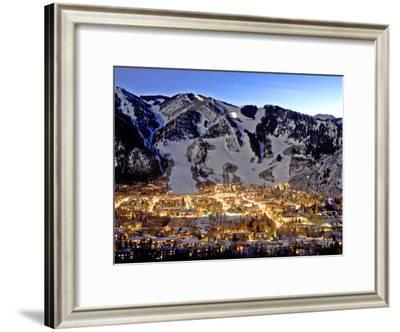 The Mountain Town of Aspen, Colorado, at Dusk in the Winter-Robbie George-Framed Photographic Print