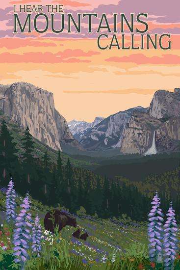 The Mountains Calling - National Park WPA Sentiment-Lantern Press-Art Print