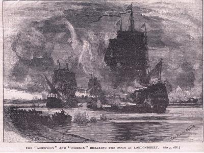 The 'Mountjoy' and the 'Phoenix' Breaking the Boom at Londonderry Ad 1689-Charles William Wyllie-Giclee Print