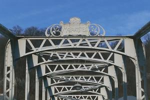 The Mozart-Steg Iron Sign on Footbridge over the Salzach River, Salzburg, Austria
