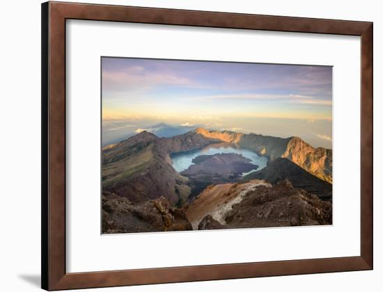The Mt. Rinjani Crater and a Shadow Cast from the Peak at Sunrise-John Crux-Framed Photographic Print
