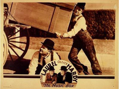 Laurel and Hardy The Music Box 1932 Movie Poster Canvas Art Print Comedy Film