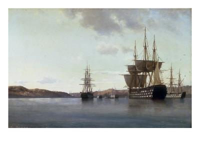 The Napoleon and other Men of War in Cherbourg Harbour, 1863-Anton Melbye-Giclee Print