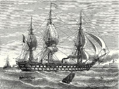 The 'Napoleon' French Steam-Propelled Warship Launched in 1849--Giclee Print