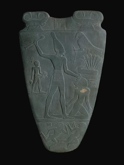 The Narmer Palette (Reverse), a Late Pre-Dynastic Schist Ceremonial Palette--Giclee Print