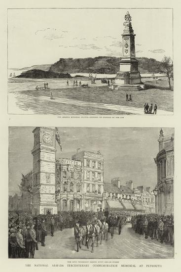 The National Armada Tercentenary Commemoration Memorial at Plymouth--Giclee Print