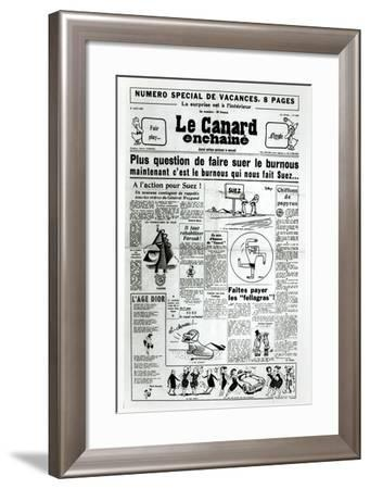 The Nationalisation of the Suez Canal, Cover from 'Le Canard Enchaine', 1st August 1956--Framed Giclee Print