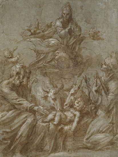 The Nativity of Christ (Pen and Brown Ink Washed in Grey and Heightened with White Bodycolour on Bl-Parmigianino-Giclee Print