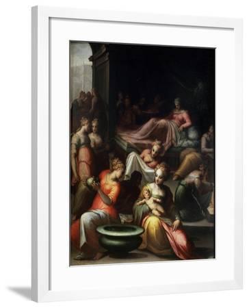 The Nativity of John the Baptist, 16th Century-Giovanni Battista Naldini-Framed Giclee Print