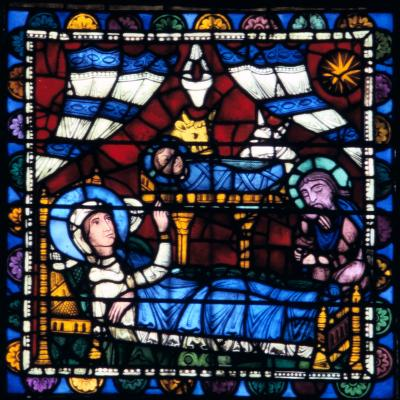 The Nativity, Stained Glass, Chartres Cathedral, France, 1194-1260--Photographic Print