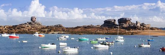 The Natural Monument Le De and Fishing Boats, Tregastel, Cotes D'Armor, Brittany, France, Europe-Markus Lange-Photographic Print