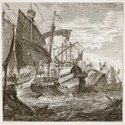 The Naval Battle Off Cape Pelorus (Litho)-English-Giclee Print