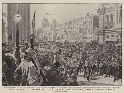 The Naval Brigade in the City, the Lord Mayor at the Mansion House Watching the Procession Pass By-Frederic De Haenen-Giclee Print