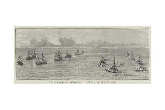 The Naval Manoeuvres, Admiral Sir George Tryon's Fleet at Steam Tactics--Giclee Print