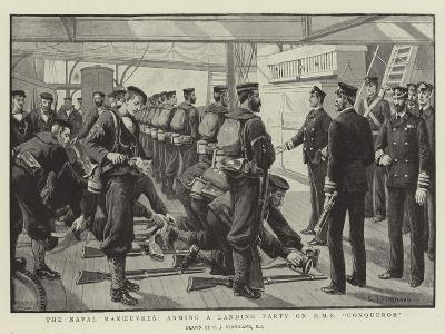 The Naval Manoeuvres, Arming a Landing Party on HMS Conqueror-Charles Joseph Staniland-Giclee Print