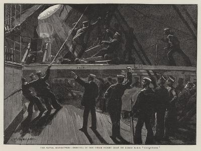 The Naval Manoeuvres, Hoisting in the Steam Picket Boat on Board HMS Conqueror-Charles Joseph Staniland-Giclee Print