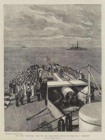 The Naval Manoeuvres, with the Red Fleet, Divine Service on Board HMS Blenheim-Joseph Nash-Giclee Print