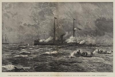 The Naval Review and Sham Fight at Portsmouth, Torpedo Boats Attacking the Colossus-William Lionel Wyllie-Giclee Print