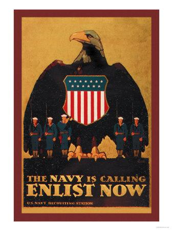 The Navy is Calling: Enlist Now-Britton-Art Print