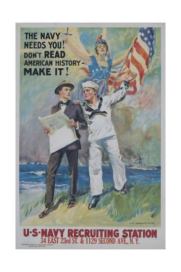 The Navy Needs You! Recruiting Poster--Giclee Print