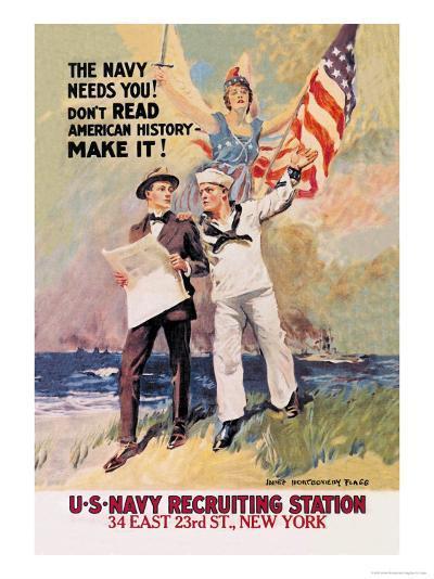 The Navy Needs You-James Montgomery Flagg-Art Print