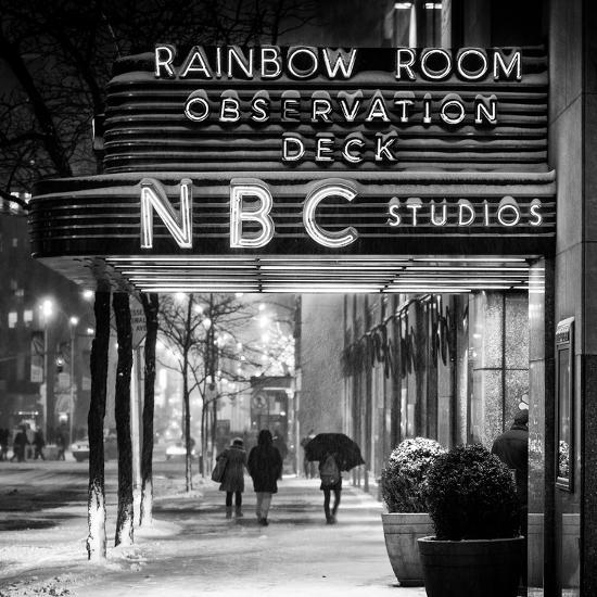 The NBC Studios in the New York City in the Snow at Night-Philippe Hugonnard-Photographic Print