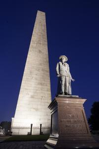The Needle on Bunker Hill Monument at Dusk, Boston, Usa