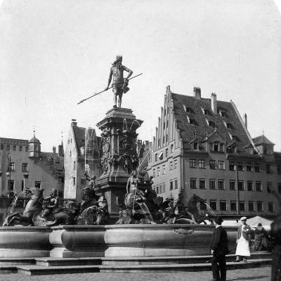 The Neptune Fountain, Nuremberg, Germany, C1900s-Wurthle & Sons-Photographic Print