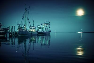 The Netherlands, Frisia, Terschelling, Harbour, Night, Moon-Ingo Boelter-Photographic Print