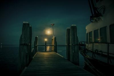 The Netherlands, Frisia, Terschelling, Harbour, Night, Moon-Ingo Boelter-Photographic Print