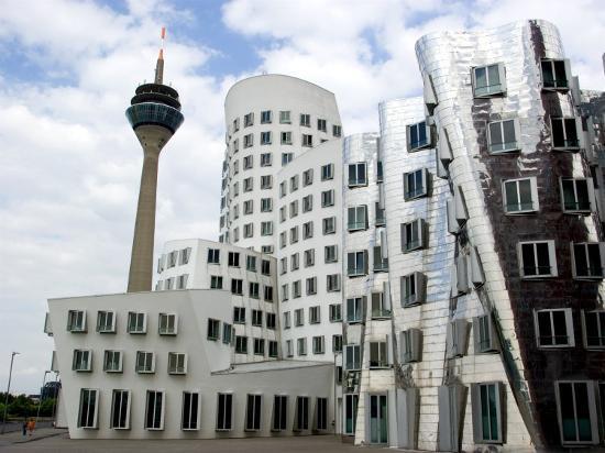 The Neuer Zollhof Building by Frank Gehry at the Medienhafen, Dusseldorf, North Rhine Westphalia-Yadid Levy-Photographic Print