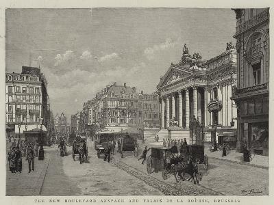 The New Boulevard Anspach and Palais De La Bourse, Brussels--Giclee Print