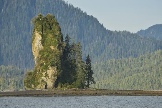 The New Eddystone Rock Formation, Off of a Forested, Mountainous Coast-Jonathan Kingston-Photographic Print