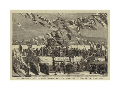 The New Harbour Works at Quebec, Canada, Hrh the Princess Louise Laying the Foundation Stone--Giclee Print