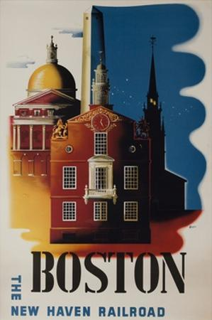 The New Haven Railroad Advertising Travel Poster, Boston