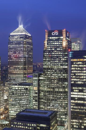 The New London Financial District in the Docklands at Dusk.-David Bank-Photographic Print