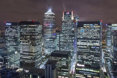 The New London Financial District in the Docklands at Night.-David Bank-Photographic Print