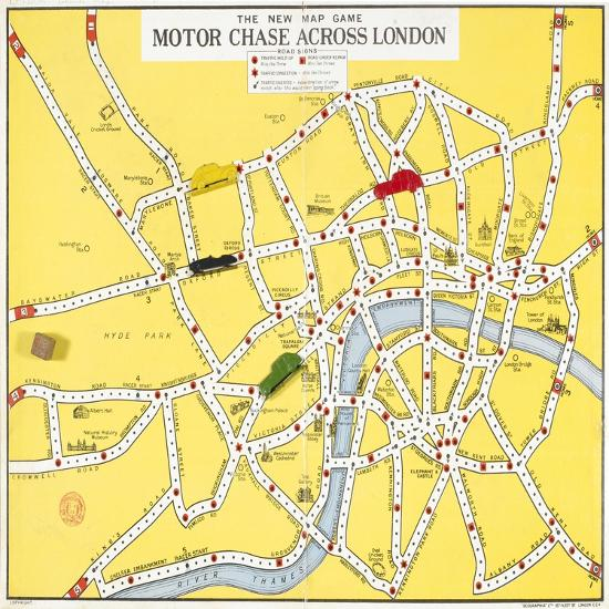 The New Map Game : Motor Chase across London, ca. 1925 Giclee ... Chase Map on