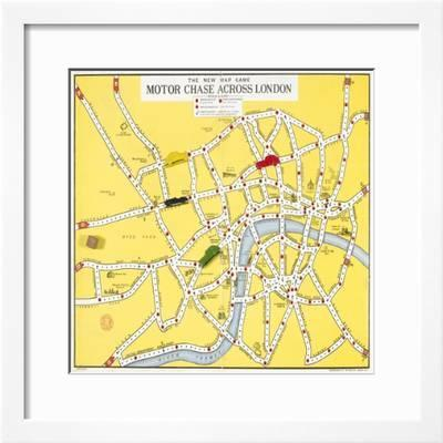 The New Map Game : Motor Chase across London, ca. 1925 Giclee Print Chase Map on