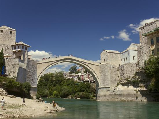 The New Old Bridge Over the Fast Flowing River Neretva, Mostar, Bosnia, Bosnia-Hertzegovina-Graham Lawrence-Photographic Print