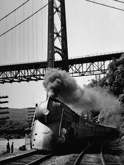 The New York Central Steamliner Releasing Steam as It Comes to a Stop-Peter Stackpole-Photographic Print