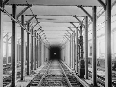 The New York City Subway Tracks at a Station with a Dark Tunnel in the Distance, 1904--Photo