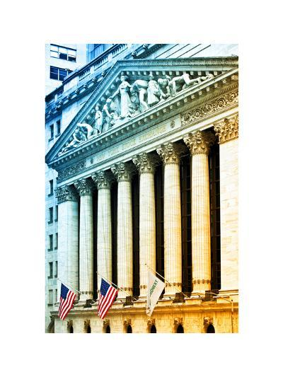 The New York Stock Exchange Building, Wall Street, Manhattan, NYC, White Frame, Colors Photography-Philippe Hugonnard-Photographic Print